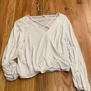 Cotton On White long sleeve cross-cross top
